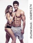 sexy couple  muscular man... | Shutterstock . vector #636891574