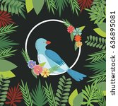 spring birds flowers decoration ... | Shutterstock .eps vector #636895081