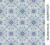seamless patchwork tile in blue ... | Shutterstock .eps vector #636895525