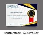 vector certificate template... | Shutterstock .eps vector #636896329