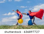father and son playing... | Shutterstock . vector #636897727