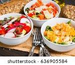 colorful vegetable salad bowl...   Shutterstock . vector #636905584