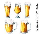 beer glasses. water olor | Shutterstock . vector #636912094