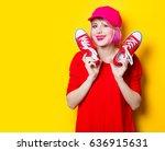 portrait of beautiful smiling... | Shutterstock . vector #636915631