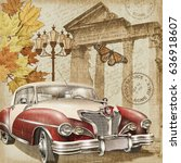 rome vintage poster. | Shutterstock . vector #636918607