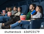 young people enjoying a movie... | Shutterstock . vector #636923179