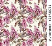 lilac seamless pattern.... | Shutterstock . vector #636930781