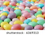 Macro image of pastel colored jelly beans with shallow dof - stock photo