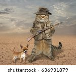 Small photo of The cat hunter is holding a real rifle. His dog is next to him.