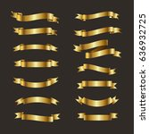 gold ribbon icon set  | Shutterstock .eps vector #636932725