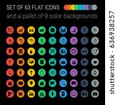 Set Of 63 Mix Flat Icons And A...