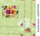 bouquet water lilies on a light ... | Shutterstock . vector #636947341