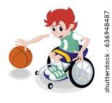 red hair kid in a wheelchair... | Shutterstock .eps vector #636948487
