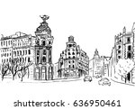 sketch of gran via street in... | Shutterstock . vector #636950461