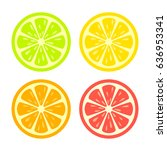 colorful citrus round slice... | Shutterstock .eps vector #636953341
