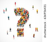 large group of people lined up... | Shutterstock .eps vector #636956431