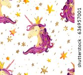 watercolor unicorn seamless... | Shutterstock . vector #636957001