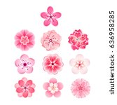isolated flowers of sakura set. ... | Shutterstock . vector #636958285