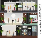 vector set of fashion posters ... | Shutterstock .eps vector #636964315