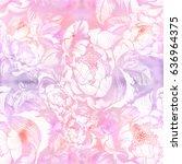 peonies.watercolor background.... | Shutterstock . vector #636964375