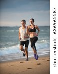 a couple wearing sportswear is... | Shutterstock . vector #636965587