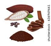 ripe cocoa fruit on a white... | Shutterstock .eps vector #636969661