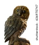 statuette of a cute owl on a... | Shutterstock . vector #636970747