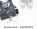 flat lay of smartphone with... | Shutterstock . vector #636983995