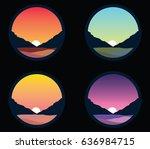 black background set  mountains ... | Shutterstock .eps vector #636984715