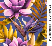 seamless tropical flower  plant ... | Shutterstock . vector #636989521