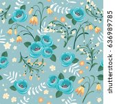 floral seamless pattern in... | Shutterstock .eps vector #636989785