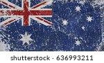 grunge australian flag | Shutterstock . vector #636993211