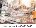double exposure with crane and... | Shutterstock . vector #636993445