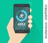 fitness tracking app on mobile... | Shutterstock .eps vector #636993811