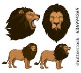lion cartoon set | Shutterstock .eps vector #636994369