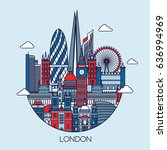 london detailed skyline. travel ... | Shutterstock .eps vector #636994969