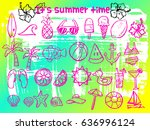 summer doodle icons brush... | Shutterstock .eps vector #636996124