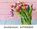 bouquet of pink tulips on a... | Shutterstock . vector #637006864