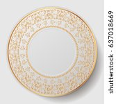 decorative plate. plate with... | Shutterstock .eps vector #637018669
