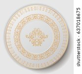decorative plate. plate with... | Shutterstock .eps vector #637018675