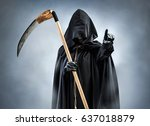 grim reaper points at you.... | Shutterstock . vector #637018879