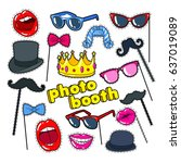 photo booth props with lips ... | Shutterstock .eps vector #637019089