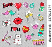 fashion love badges  patches ... | Shutterstock .eps vector #637019179