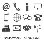 grey contact icons   stock... | Shutterstock .eps vector #637024561