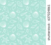 seamless pattern of seashells.... | Shutterstock .eps vector #637024861