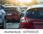 car stop on the road traffic... | Shutterstock . vector #637033225