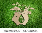 save water concept. paper cut... | Shutterstock . vector #637033681