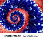 Navy Red Flower Spiral Abstract ...