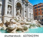 trevi fountain or fontana di... | Shutterstock . vector #637042594