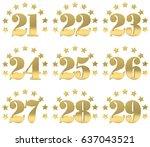 set of golden digit from twenty ... | Shutterstock . vector #637043521